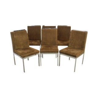 Design Institute of America Milo Baughman Mid Century Modern Set of 6 Chrome Dining Chairs For Sale