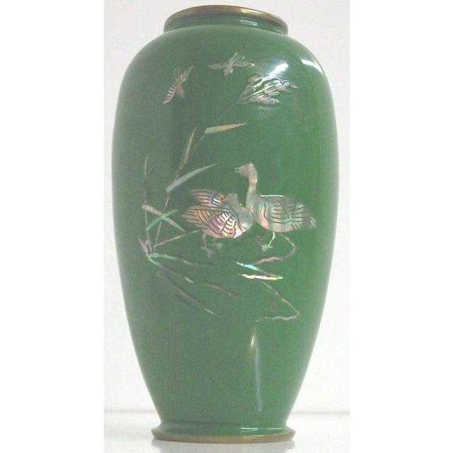 Green Enamelled Chinoiserie Brass Vase - Image 2 of 5