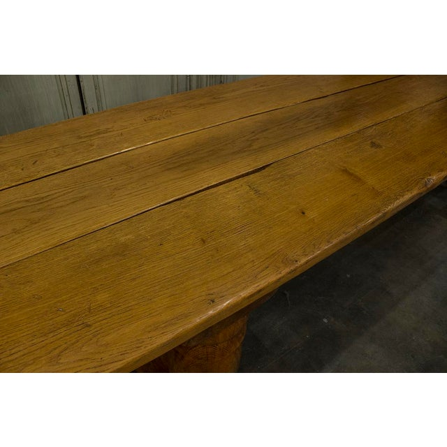 Late 19th Century English Oak Plank Top Trestle Table For Sale - Image 5 of 6