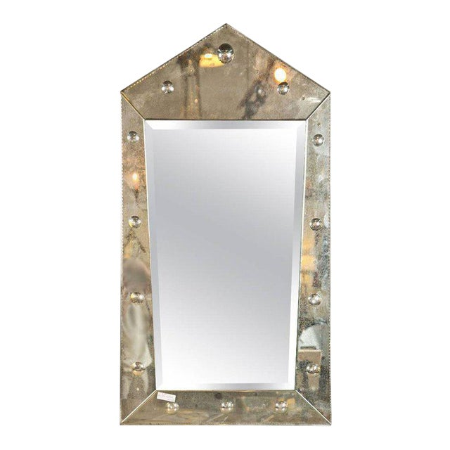 Hollywood Regency Venetian Style Rare Pyramid Design Bevelled Mirror For Sale