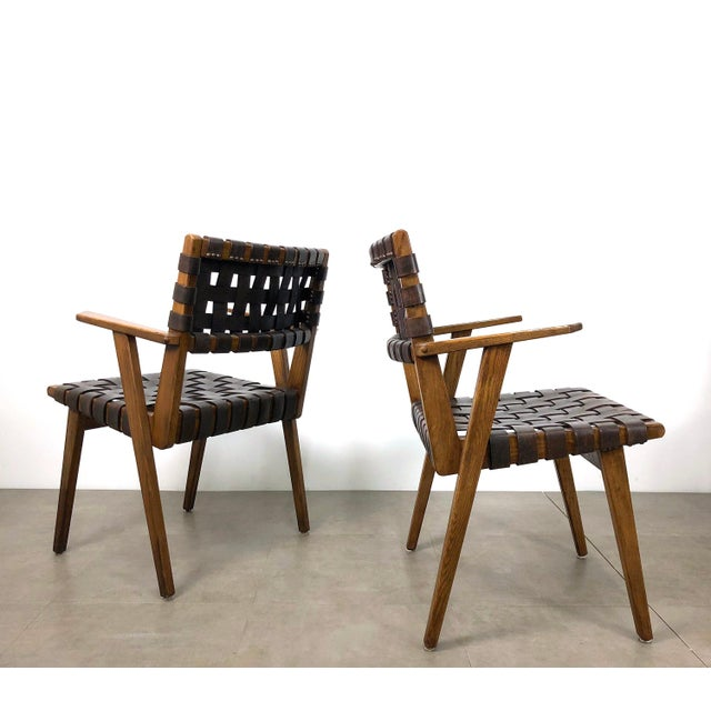 Pair of Mid-Century Modern Leather Webbed Chairs For Sale - Image 10 of 10