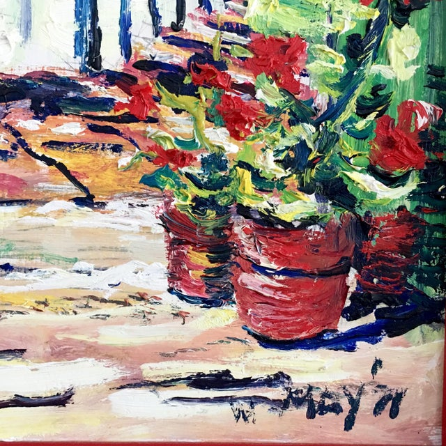 Impressionism Original Spanish Courtyard Oil Painting For Sale - Image 3 of 12