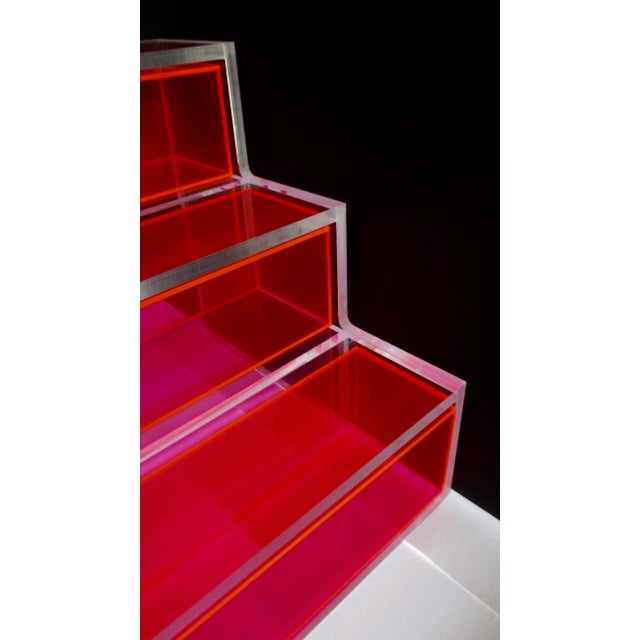 Contemporary Pink Block Lucite Display Shelving For Sale - Image 3 of 10