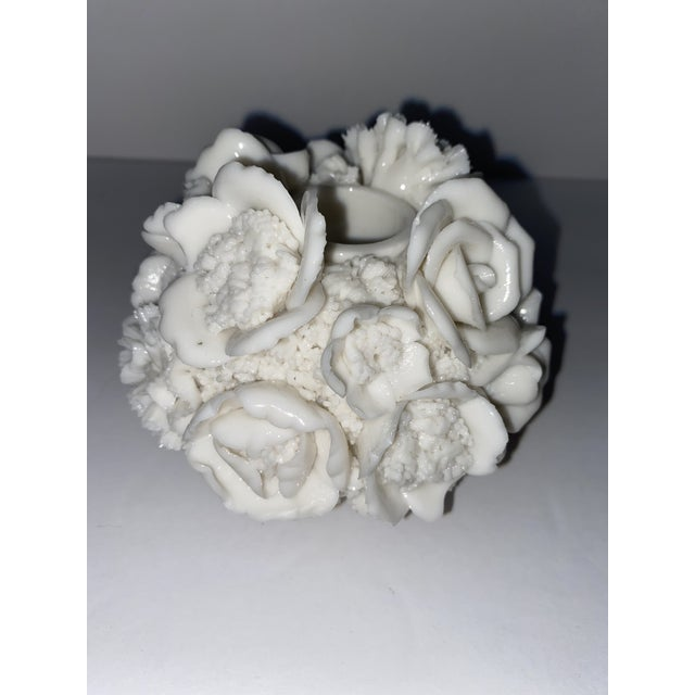 Capodimonte Vintage Capodimonte Style Milk Glass Rose Floral in Basket Candle Holder For Sale - Image 4 of 8