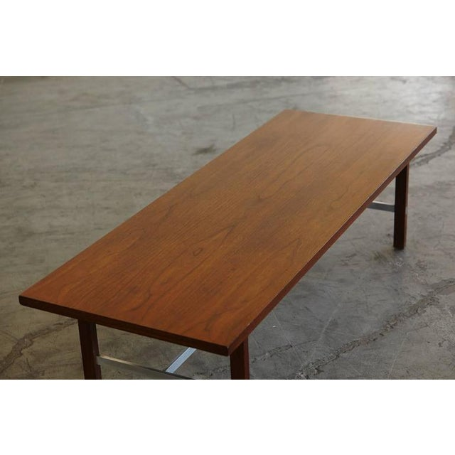 Aluminum Paul McCobb Walnut and Aluminum Coffee Table for Calvin Furniture For Sale - Image 7 of 9