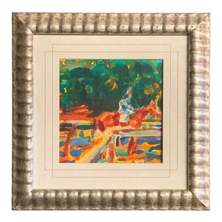 Original Vintage 1970's Impressionist Watercolor Horse Painting For Sale