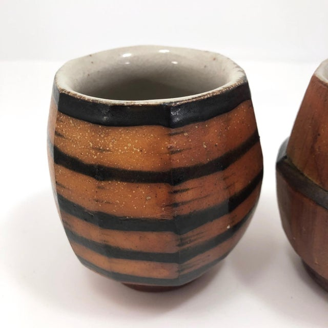 Japanese Style Faceted Yunomi Studio Pottery Cups, Marked - a Pair For Sale In Boston - Image 6 of 13