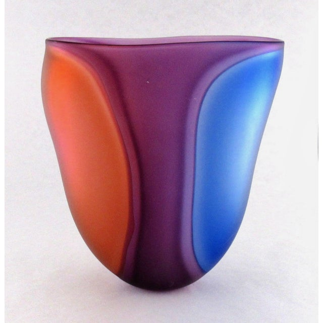 Glass Beautiful Samphire Frosted Glass Vase - Cobalt, Wine, and Red For Sale - Image 7 of 11