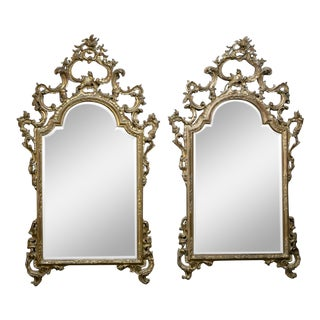 Pair 19th Century Italian Rococo Hand Carved Giltwood Mirrors For Sale