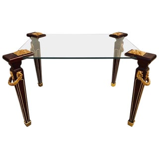 A Maison Jansen Bronze Mounted Louis XVI Style Glass Top Coffee End Table For Sale
