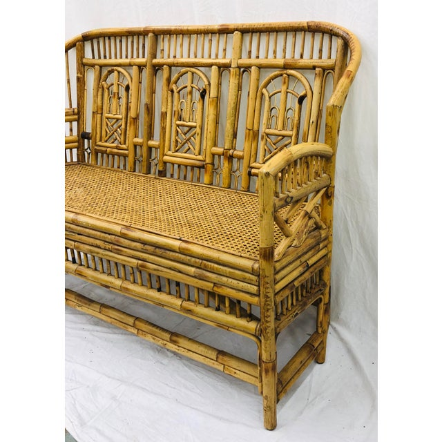 Asian Vintage Chinese Chippendale Bamboo & Cane Settee For Sale - Image 3 of 13