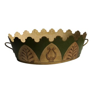 Neoclassical Style Hand Painted Green Tole Cachepot For Sale