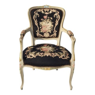 Vintage French Country Black Floral Tapestry Needlepoint Accent Chair For Sale
