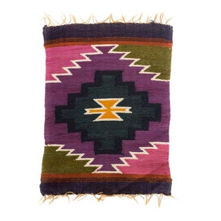 Peruvian Wall Hanging / Placemat in Violet, Pink, Olive, Yellow For Sale