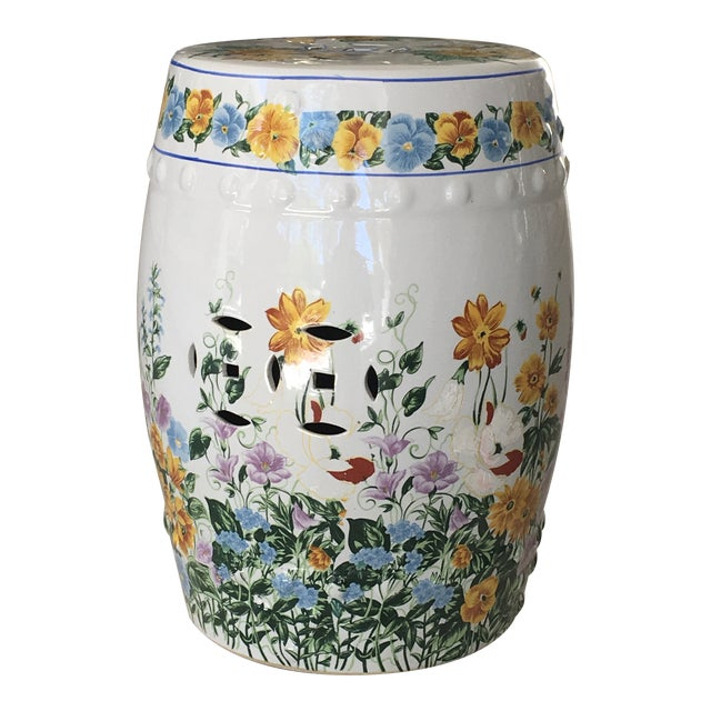 Chinoiserie Floral Garden Seat For Sale