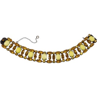 Schreiner 1950s Vintage Yellow & Amber Opaque Rhinestones Bracelet Vintage Unmarked For Sale