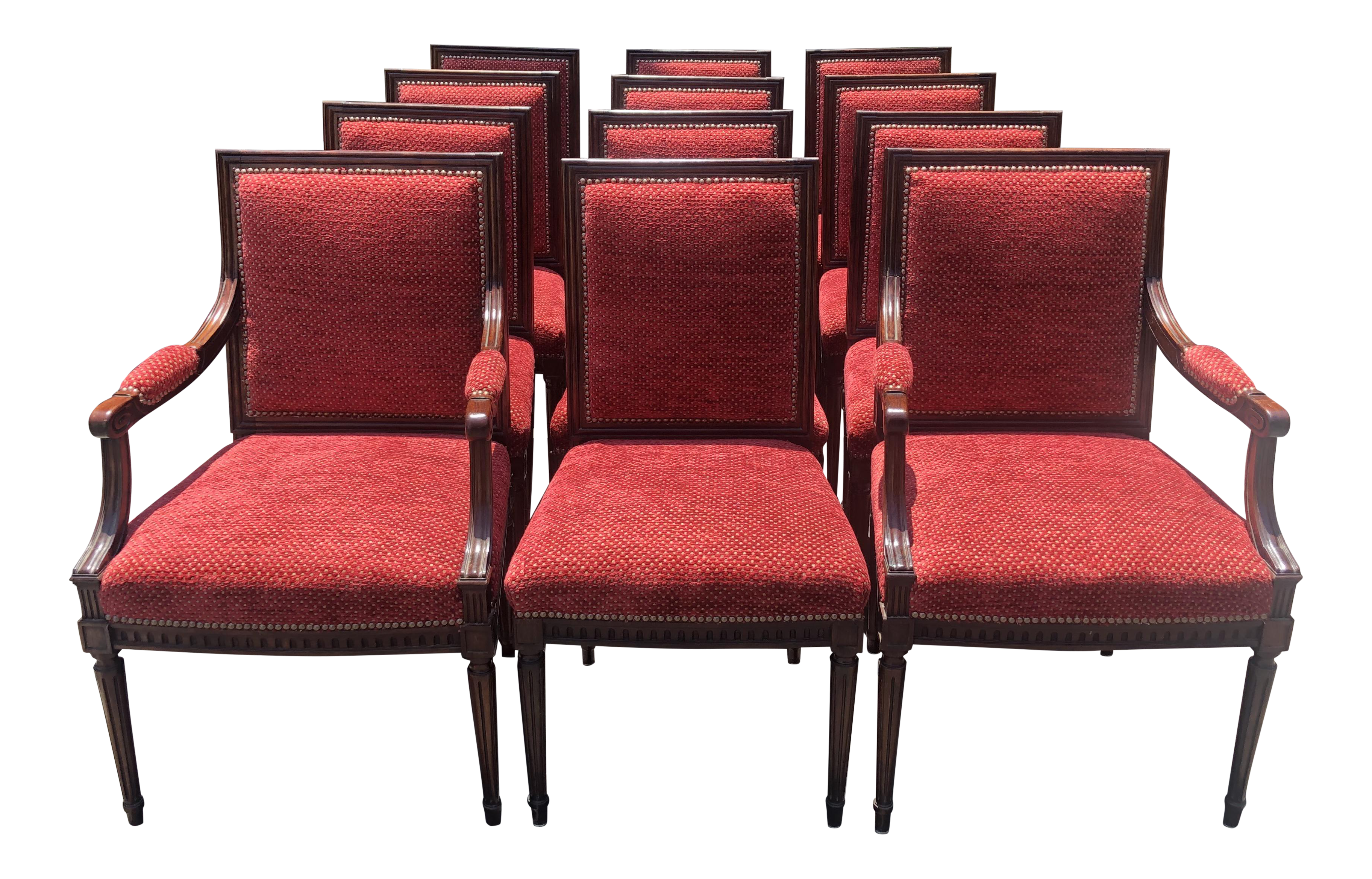 Set Of 12   Antique 18c Directoire Style Rosewood Dining Chairs For Sale