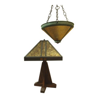Arts and Crafts Mica Pendant and Table Lamp - 2 Pieces For Sale