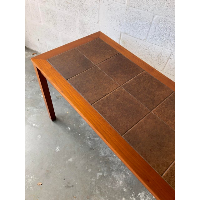 Wood Vintage Mid Century Danish Modern Tile Top Console/ Entry Table For Sale - Image 7 of 13