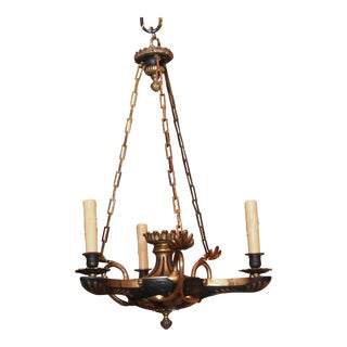 19th Century Empire 3 Arm Chandelier For Sale