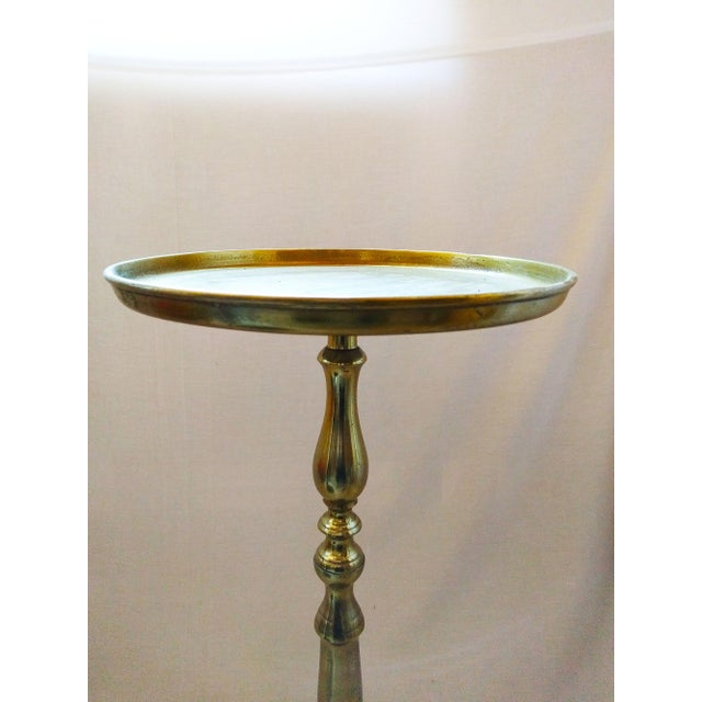 Antique Brass Pedestal Accent Table - Image 4 of 4