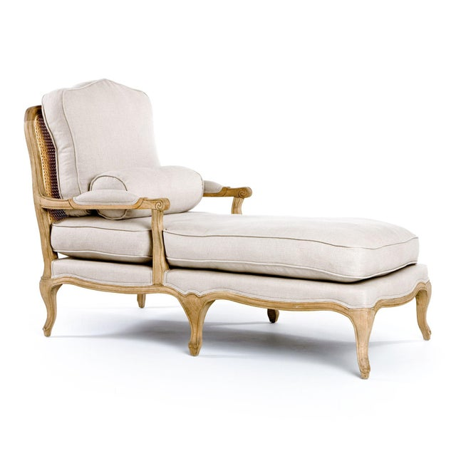 French Country Mead Bastille Chaise Lounge in Beige For Sale - Image 3 of 3
