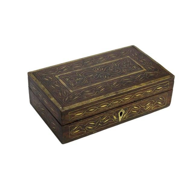 Elegant Brass Inlay Jewelry Box - Image 1 of 4
