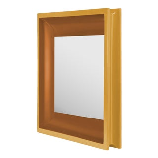 Square Floating Mirror in Mayan Gold / Saddle Tan - Jeffrey Bilhuber for The Lacquer Company For Sale