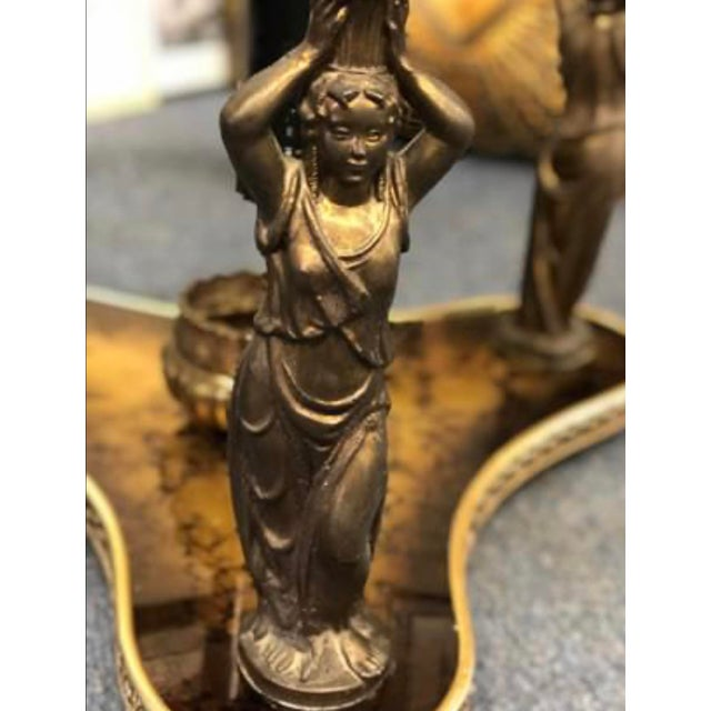 Metal Mid-Century Gold & Bronze Cherub Accent Table For Sale - Image 7 of 8