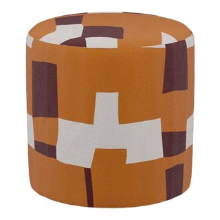 Drum Ottoman in Spice Quilt For Sale