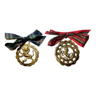 Antique British Brass Bridle Ornaments - a Pair For Sale