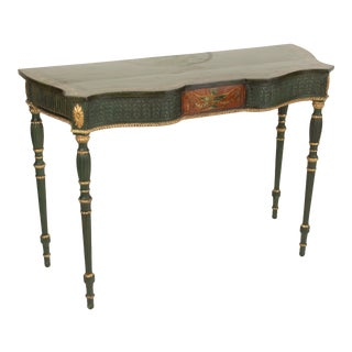English Edwardian Painted and Gilt Decorated Console Table For Sale