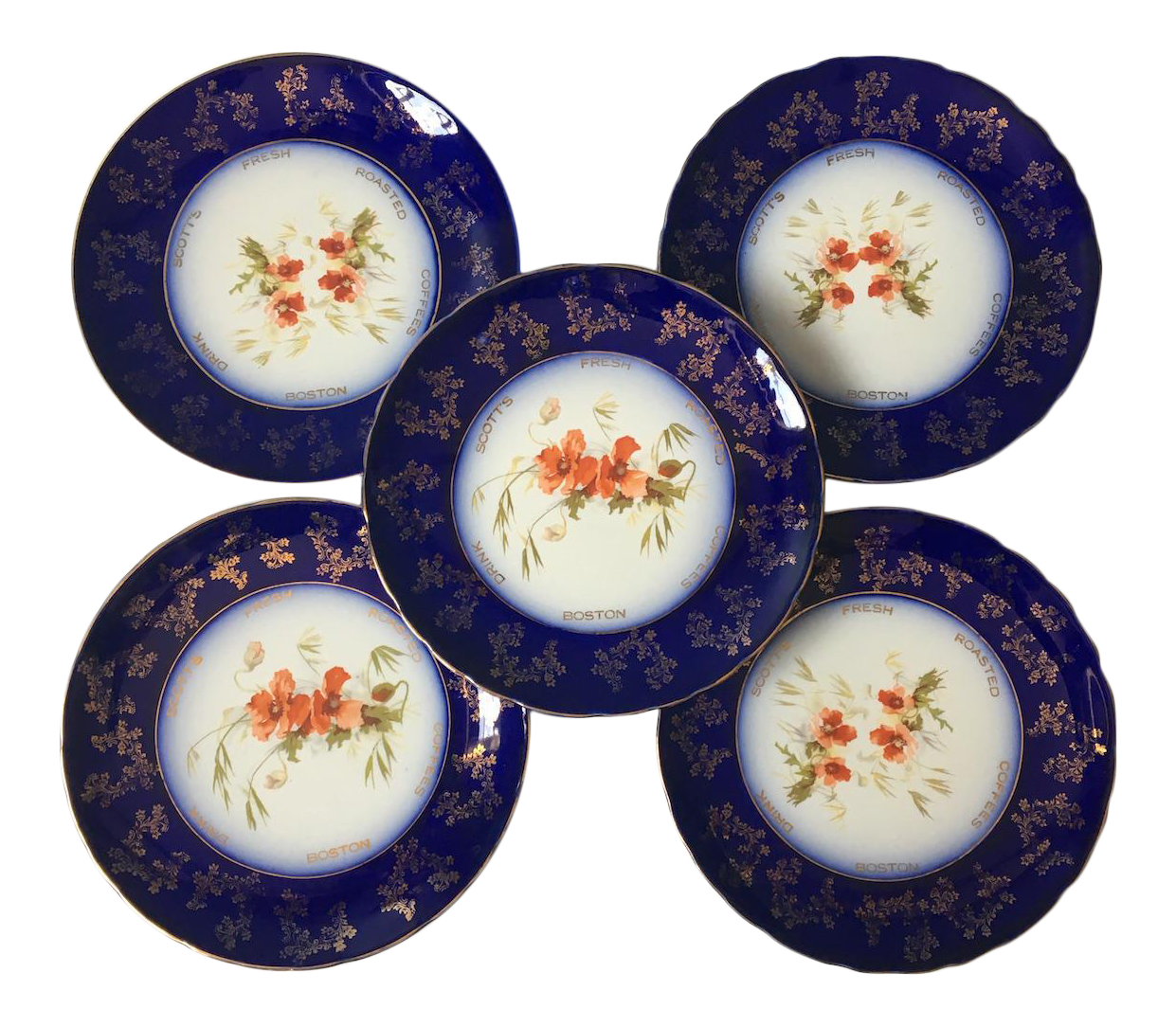 1920s Scottu0027s Fresh Roasted Coffees Plates - Set ...  sc 1 st  Chairish & Vintage u0026 Used Navy Blue Decorative Plates | Chairish