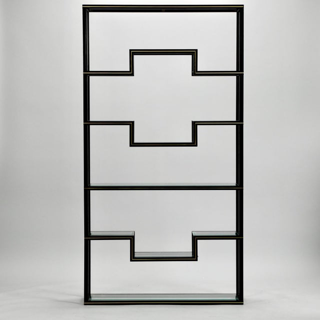 Brass Mid Century Pierre Vandel Black Lacquer and Brass Etagere with Glass Shelves For Sale - Image 7 of 9