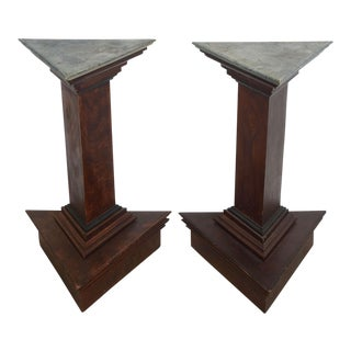 Pair of Italian Neoclassic Faux Bois and Faux Marble Painted Pedestals For Sale