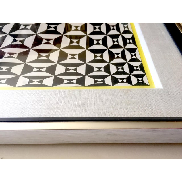 """Edna Andrade Rare Vintage 1969 Mid Century Modern Framed Op Art Lithograph Print """" Black Diamond """" 1967 For Sale - Image 9 of 13"""
