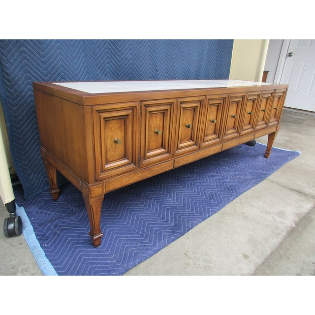 1970s 1970s Hollywood Regency Weiman Burl Wood Console Cabinet For Sale - Image 5 of 12
