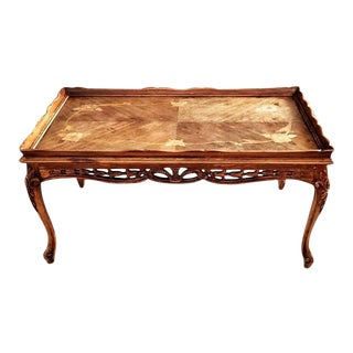 Vintage French Louis XV Marquetry Inlaid Pierced Coffee Table For Sale
