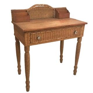1940s Boho Chic Rattan/ Wicker Lady Desk For Sale