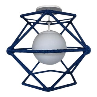 Custom Bone Simple Hexagonal Cage Rope Ceiling Fixture - Cubbies Blue For Sale