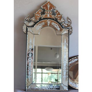 Vintage Italian Venetian Rectangular Arched Top Etched Glass Crown/Crest Mirror Preview