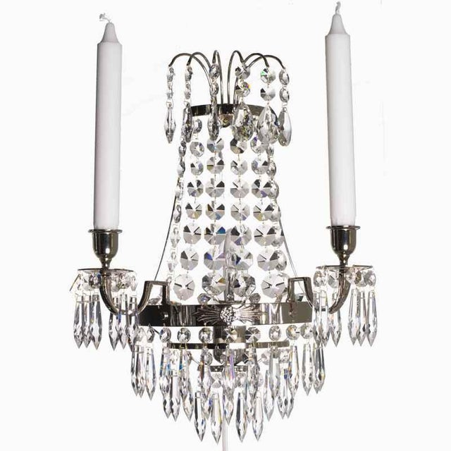 Not Yet Made - Made To Order Nobel Nickel Crystal Sconce Chandelier For Sale - Image 5 of 5