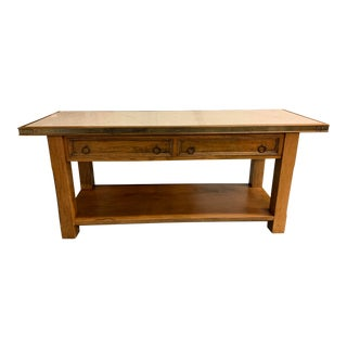 Early-20th Century Stone Top + Brass Trim Wood Console For Sale
