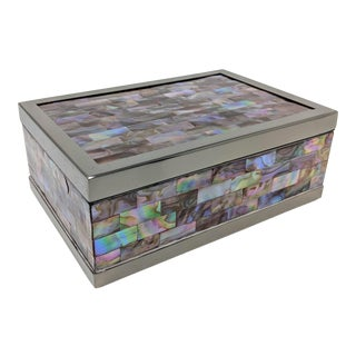 Jonathan Adler Inspired Gun Metal & Abalone Shell Box For Sale