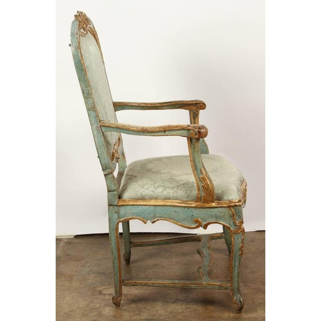 Gold Fine Venetian Rococo Arm Chair For Sale - Image 8 of 9