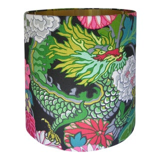 Lamp Shade with Gold Lining, Made with Schumacher's Chiang Mai Dragon in Ebony