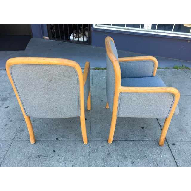 1980s 1980s Vintage Sculptural Oak Frame Arm Chairs - a Pair For Sale - Image 5 of 11