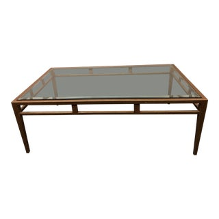 Custom Brass Finish Coffee Table For Sale