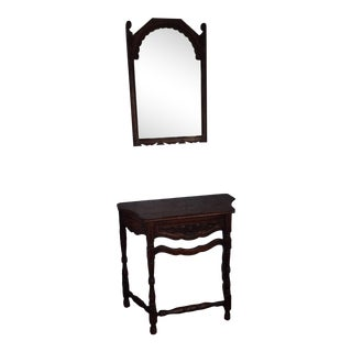Early 19th Century Rustic Dark Oak Console and Mirror - 2 Pieces For Sale