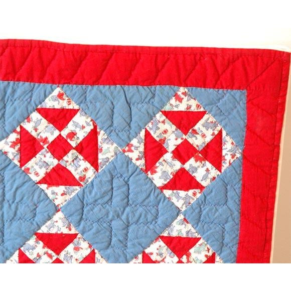 Primitive 1930s Red, White and Blue Doll Quilt For Sale - Image 3 of 9